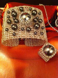 Ganchillo brazalete pulsera boda joyería conjunto, brazalete pulsera con alambre swarovski perlas regalo de plata plateado alambre-Navidad regalo-bisuterías