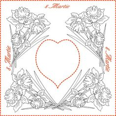 Nicole's Free Coloring Pages: 8 Martie * Coloring Spring Greeting Cards Wedding Coloring Pages, Spring Coloring Pages, Free Coloring, Adult Coloring, Coloring Books, Color By Number Printable, 8 Martie, Santa Letter, Red Berries