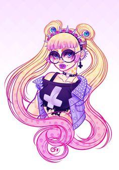 more like pastel goth sailor moon, but kinda fairy kei esque