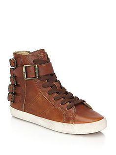 $258 Frye Dylan Belted Leather Sneakers