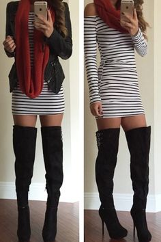 Triple Threat Thigh-High Boots – Colors of Aurora Fashion Moda, Look Fashion, Fashion Outfits, Womens Fashion, Gothic Fashion, Fall Winter Outfits, Autumn Winter Fashion, Winter Style, Casual Outfits