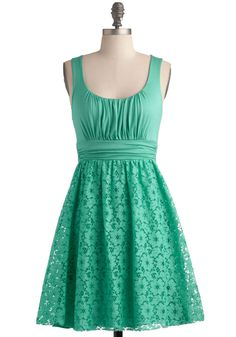 Peppermint Iced Tea Dress - Green, Solid, Lace, Ruching, Daytime Party, Tank top (2 thick straps), A-line, Mint