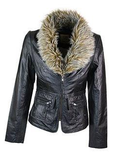 dd7675d7c2529 Aviatrix Ladies Real New Vintage Short Black Leather Jacket Coat Faux Fur  Collar Candle-New
