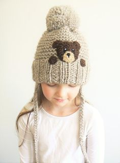 Items similar to Mother Daughter hats Bear Hat Mommy and Me Matching Hats Knit Hats Pom Pom Hats Matching Outfits Woman Hat Unisex Kids Hat Cute hat on Etsy Crochet Baby Boy Hat, Crochet Fox, Crochet Beanie, Cute Crochet, Crochet For Kids, Baby Knitting, Crochet Hats, Mom Hats, Baby Boy Hats