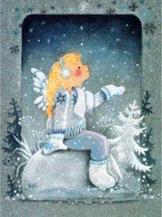 Kaarina Toivanen Series: The joy and warmth Winter Illustration, Christmas Illustration, Illustration Art, Christmas Knitting, Felt Christmas, Vintage Christmas, Christmas Drawing, Christmas Clipart, Angel Art