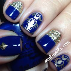 ModNails Blue/Gold Holiday Mani (using Essie's good as gold for stamping)