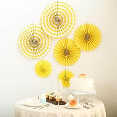 Set of 6 | Yellow Paper Fan Decorations | Paper Pinwheels Wall Hanging Decorations Party Backdrop Kit | 8"