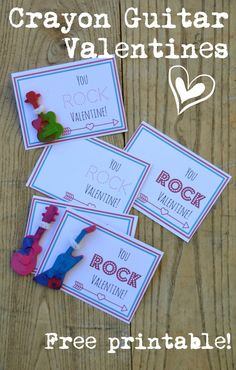 You Rock, Valentine! Free printables to go with guitar-shaped crayons or erasers