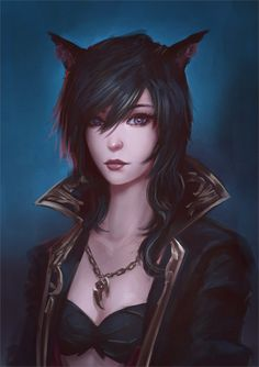 art-of-cg-girls:  Commission: Miqo'te Portrait by raikoart                                                                                                                                                                                 Plus