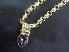 Vintage Designer Gold Necklace Chunky Amethyst February Rhinestone Chain Runway