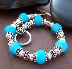 Gorgeous glass bead and sterling bracelet!