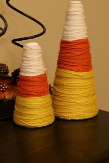 Candy corn made from styrofoam cones and yarn.
