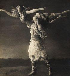 """E.O. Hoppé, Thamar Karsavina and Adolph Bolm in """"Firebird"""" 1911"""