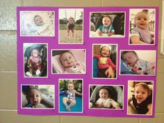 A game for the adults at your child's first birthday party!  Put up 12 pics from 1 month to 1 year, and people have to guess which picture corresponds to the correct age.  The first person whose answer sheet is correct wins.  Was a big hit and gave the adults something to do!