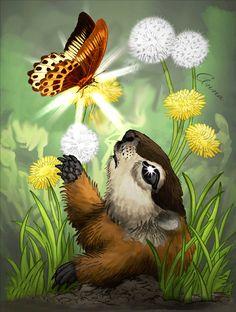 Анимация Суслик смотрит на бабочку сидящую на цветке и улыбается