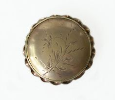 Vintage Round Etched Buckle / Fastener by MargsMostlyVintage Scarf Rings, Team Gifts, Belt Buckles, Gold Jewelry, Vintage Items, Personalized Items, A4, Belts, Leather