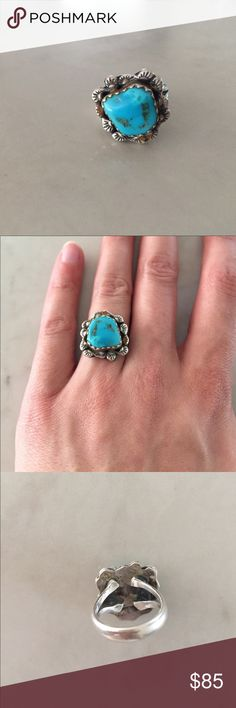 Navajo Turquoise Ring Vintage Turquoise Navajo Ring. Unique piece. Size 7. 925 sliver. Jewelry Rings