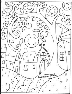 Rug Hooking Paper Pattern Quaint Town Folk Art Modern Primitive Unique Karla GNice pattern for a quilled scene. Quaint Town by Karla GerardYou are dealing with Karla Gerard, Maine Folk Art/Abstract Artist, Originator/Creator of concentric circles/flo Folk Embroidery, Paper Embroidery, Embroidery Designs, Penny Rugs, Wool Applique, Applique Patterns, Colouring Pages, Coloring Books, Summer Coloring Pages