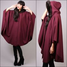 Vtg 80s Plum Hooded Cloak Draped Cape Avant Garde Faux Fur Wool Jacket Coat SML | eBay