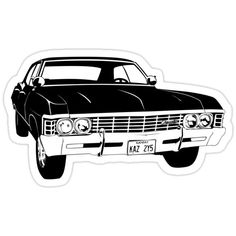 'baby (clean print)' Sticker by Supernatural Impala, Supernatural Drawings, Supernatural Tattoo, Supernatural Fan Art, Supernatural Wallpaper, 1967 Chevy Impala, 67 Impala, Los Mejores Tattoos, Car Vector