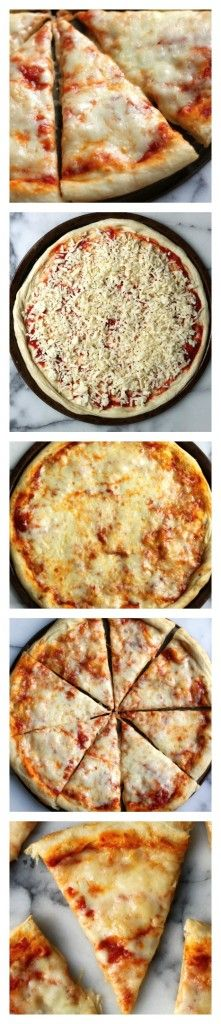 The Best New York Style Cheese Pizza - Light and airy pizza crust is topped with perfect marinara and a heavy sheet of mozzarella! This pizza is almost identical to the famous slices sold on the streets of New York, and better than any delivery! Quiches, Pizza Recipes, Cooking Recipes, Pizza Baker, Great Recipes, Favorite Recipes, Sushi, Western Food, Brunch