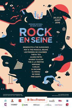 Poster Discover Rock en Seine Proposition of call for tender communication for Rock en Seine 2016 festival. With Akrolab studio. Graphic Design Layouts, Graphic Design Posters, Graphic Design Illustration, Typography Design, Event Poster Design, Poster Design Inspiration, Poster Art, Poster Layout, Rock En Seine