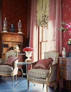more pink...but not garish or dumb. the antiques and fine furnishings keep it from looking like a Kimora Lee Simmons gaudy creation