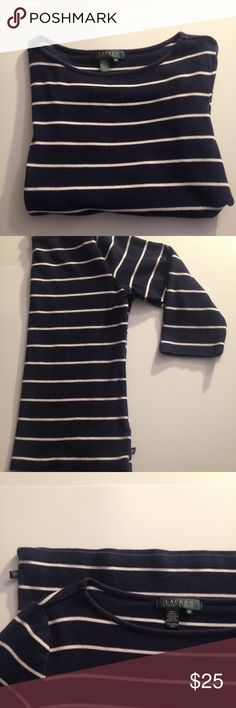 • RL blue and white striped 3/4 sleeve • • navy blue and white ⠀ • Ralph Lauren ⠀ • size medium  ⠀ • made in Northern Mariana Islands  ⠀ • 100% cotton ⠀ • great condition  ⠀ • to wash: machine wash cold, gentle cycle ⠀ • 24 hour shipping (excluding Sunday's and holidays) ⠀ • 20% off all bundles  ⠀ • smoke free home  ⠀ • reasonable offers accepted Ralph Lauren Tops Tees - Long Sleeve
