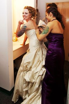 bride and bridesmaids with tattoos get ready for the wedding. YOU AND ME BIDDY