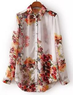 Stylish Turn-Down Collar Long Sleeve Floral Print Single-Breasted Women's Blouse Vintage Blouses   RoseGal.com Mobile