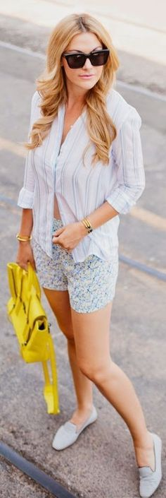 #summer #shorts #trend #outfitideas |Blue Floral Silk Shorts + Striped + Yellow