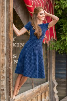 Blue and Black Bronwynn Dress from the Timbers and Twine Collection by Shabby Apple Modest dress Modest Dresses, Modest Outfits, Modest Fashion, Pretty Dresses, Beautiful Dresses, Cute Outfits, Modest Clothing, Summer Dress Modest, Apostolic Fashion