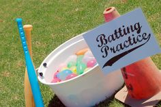 Water balloon baseball, water games, water balloon game, baseball birthday party, baseball themed party Get in the game Softball Party, Baseball Birthday Party, Sports Birthday, Kids Baseball Party, Sports Party, Summer Birthday, Birthday Games, Baseball Games For Kids, Baseball Bats