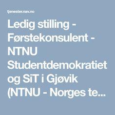 Ledig stilling - Førstekonsulent - NTNU Studentdemokratiet og SiT i Gjøvik (NTNU - Norges teknisk-naturvitenskapelige universitet)