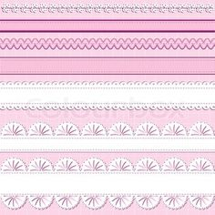 Vector of 'A set of ribbons and lace on pink background great for scrapbooking designs'