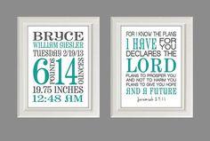 """Lord's Plans-Jeremiah""Nursery Art  Baby Birth Stats  Nursery by SilverCoastCreations, $26.00"