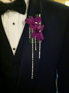 "Prom Flowers - Orchid boutonniere with rhinestone ""shower"""