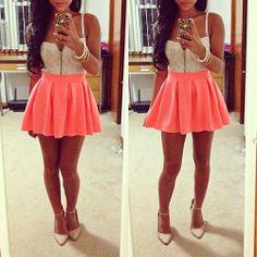 crop top and skirt tumblr