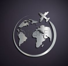 travel logo: Flat metallic icon of the aircraft and the planet earth. Vector image.