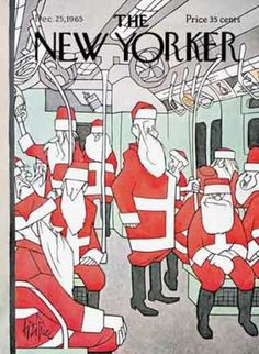 The New Yorker Cover (December 1965) Santa riding the subway.