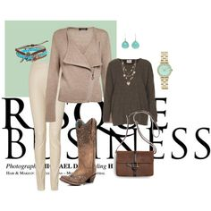 """13-02-2014 Thursday """"Beige jasje/bruin shirt/ lichte broek"""" by kaatje60 on Polyvore"""