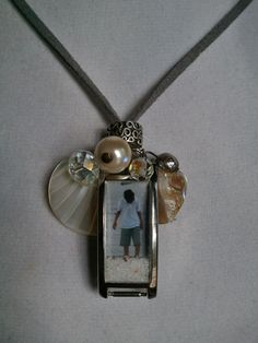Turn your old watch into this up cycled photo pendant. Charming watch necklace!