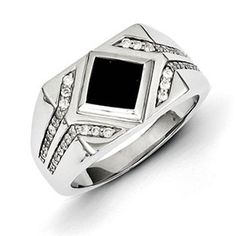 Men's Sterling Silver Black Onyx 3/8 Carat Diamond Ring Jewelry Gemologica.com offers a unique selection of mens gemstone and birthstone rings crafted in sterling silver and 10K, 14K and 18K yellow, white and rose gold. We have cool styles including wedding and engagement rings, fashion rings, designer rings, simple stone and promise rings. Our complete jewelry collection of gemstone rings for men can be seen here: www.gemologica.com/mens-gemstone-rings-c-28_46_64.html