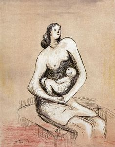 Henry Moore's work, characterised by smooth, organic sense of shape and empty hollows, form monumental sculptures. Sculpture Painting, Painting & Drawing, Henry Moore Drawings, Henry Moore Sculptures, Artist Sketchbook, Figure Drawing Reference, Classic Paintings, Historical Art, Figurative Art