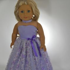 18 inch doll clothes Lavender Flower Full-Length Party Dress and choker 05-0234 by thesewingshed on Etsy