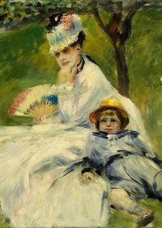 Painting by Pierre-Auguste Renoir (1841-1919), 1874,  Madame Monet and her Son, oil on canvas. Camille and Monet were married on 28 June 1870 in the 8th arrondissement of Paris during a civil ceremony. Painter Gustave Courbet was a witness.