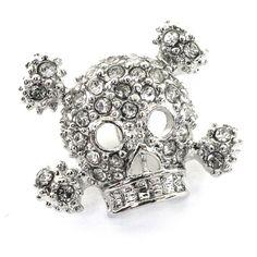 Skull & Cross Bones Diamante Button. Shiny by JosyroseHaberdashery, £1.95