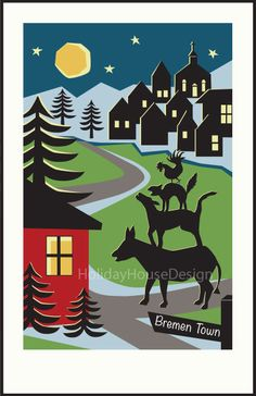 Bremen Town Musicians Brothers Grimm Fairy by HolidayHouseDesign, $19.00