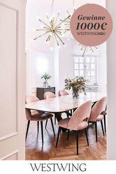pink-chairs-marble-dining-table-dining-room-chairs-dining-marble-marbletablelivingroo - The world's most private search engine Pink Dining Rooms, Dining Room Chairs, Table And Chairs, Dining Area, Round Marble Table, Marble Dining Tables, Dining Room Design, Instagram, Pink Chairs