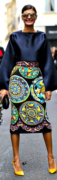 Street style Milan FW Spring 2015 via Giovanna Battaglia a former Dolce & Gabbana model and editor of Vogue Japan